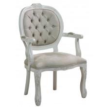 Cadeira Medalhão II Entalhada - Provençal Branco e Cinza Fendi