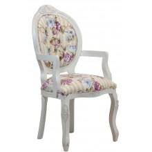 Cadeira Medalhão IV Entalhada com Braço -  Provençal Branca com Floral Violeta