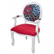 Cadeira Medalhão II Entalhada - Provençal Branco e Composê Vermelho e Azul