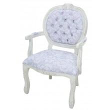 Cadeira Medalhão II Entalhada - Provençal Branco e Floral Cinza Azulado