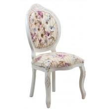Cadeira Medalhão IV Entalhada - Provençal Branca com Floral Violeta