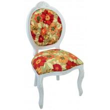 Cadeira Medalhão IV Entalhada - Provençal Branco com Floral Laranja