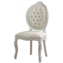 Cadeira Medalhão IV Entalhada - Provençal Branca com Listrado Cinza
