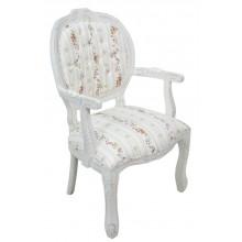 Cadeira Medalhão II Entalhada - Provençal Branco e Listrado Floral Amarelo