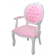 Cadeira Medalhão II Entalhada - Provençal Branco e Rosa Claro