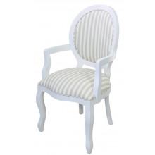 Cadeira Medalhão III Lisa com Braço - Branco com Listrado Cinza e Branco