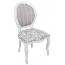 Cadeira Medalhão III Lisa - Branca com Composê Cinza Listrado e Floral