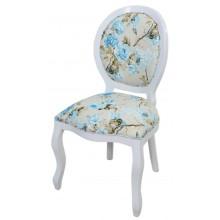 Cadeira Medalhão III Lisa - Branco com Floral Azul