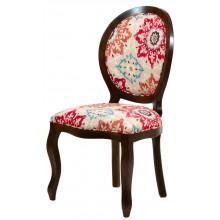 Cadeira Medalhão III Lisa - Capuccino + Floral Vermelho e Azul