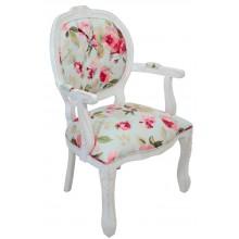 Cadeira Medalhão II Entalhada - Provençal Branco e Azul Claro com Rosas