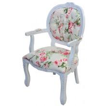 Cadeira Medalhão II Entalhada - Provençal Branco com Floral Rosa
