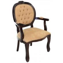 Cadeira Medalhão II Entalhada - Capuccino e Caramelo com Tachas