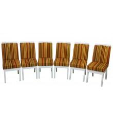 Conjunto 6 Cadeiras Komfort - Branca com Listrado Vermelho + Opções