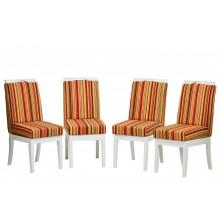 Conjunto 4 Cadeiras Komfort - Branca com Listrado Vermelho + Opções