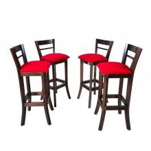 Conjunto com 4 Banquetas Altas com Encosto - Capuccino e Vermelho