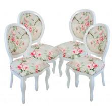 Conjunto de 4 Cadeiras para Sala de Jantar Medalhão III - Branco e Floral Rosa