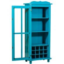 Cristaleira Colorida 1 Porta Sem Gaveta com Adega - Azul Turquesa + Cores