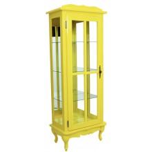 Cristaleira Colorida Amarela 1 Porta com Aberturas Laterais e Fundo em Espelho
