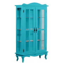 Cristaleira Colorida 2 Portas e Aberturas Laterais - Azul Turquesa