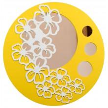 Espelho Decorativo Redondo Floral Amarelo + Cores