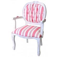 Cadeira Medalhão II Entalhada - Provençal Branco e Listrado Rosa