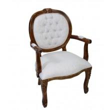 Cadeira Medalhão II Entalhada - Marrom Envelhecido com Branco