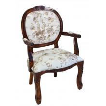 Cadeira Medalhão II Entalhada - Envelhecida com Flores Café