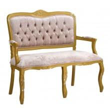 Namoradeira Entalhada Luis XV - Dourado e Bege Brilhante