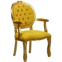 Cadeira Medalhão II Entalhada - Dourado e Amarelo