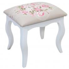 Puff Luis XV Liso - Branco e Cinza com Floral Rosa