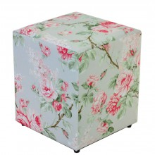 Puff Quadrado - Floral Rosa