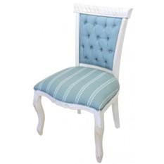 Cadeira Luis XV Entalhada sem Braço - Provençal Branca e Azul Claro