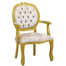 Cadeira Medalhão II Entalhada - Dourado e Cinza Brilhante