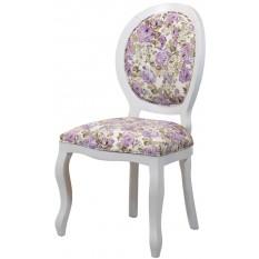 Cadeira Medalhão III Lisa - Branca com Floral Violeta