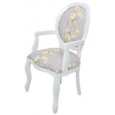 Cadeira Medalhão III Lisa com Braço - Branco com Cinza e Floral Amarelo