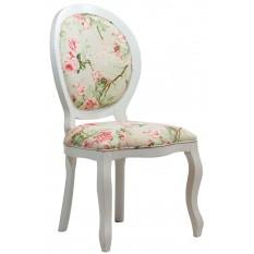 Cadeira Medalhão III Lisa - Branco com Floral Rosa