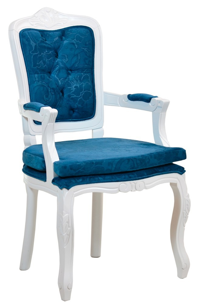 Cadeira Luis XV II Entalhada com Braço - Branca com Azul e Almofada Solta