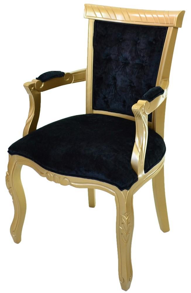 Cadeira Luis XV Reta Entalhada com Braço - Dourada e Preta