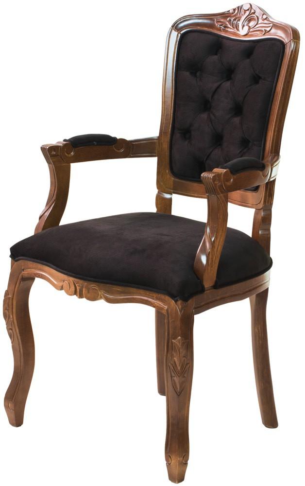 Cadeira Luis XV II Entalhada com Braço - Capuccino e Preto