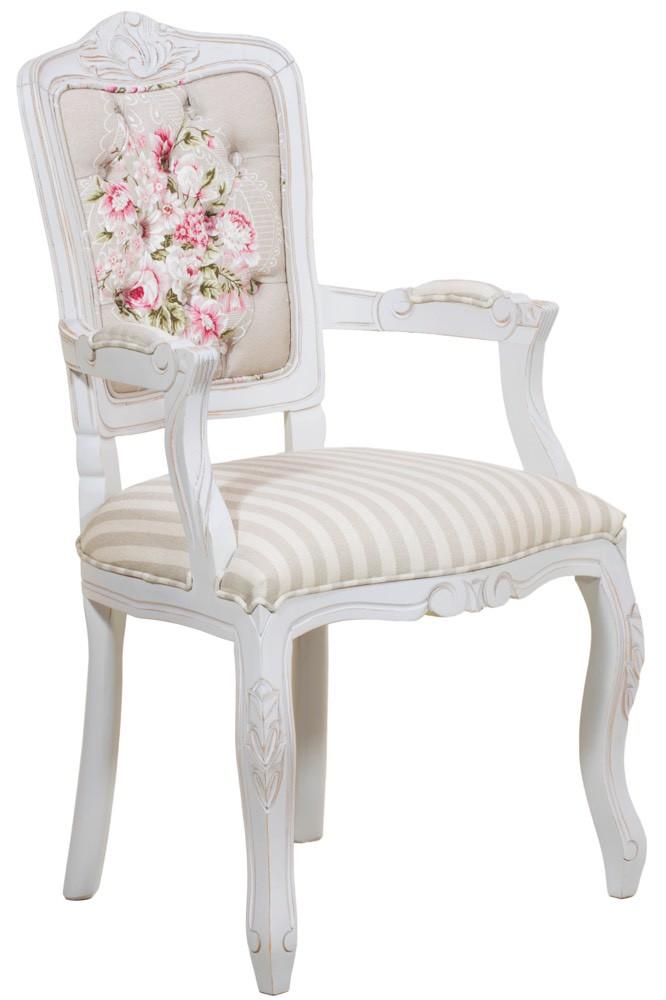 Cadeira Luis XV II Entalhada com Braço - Provençal Branca e Composê Floral Listrado