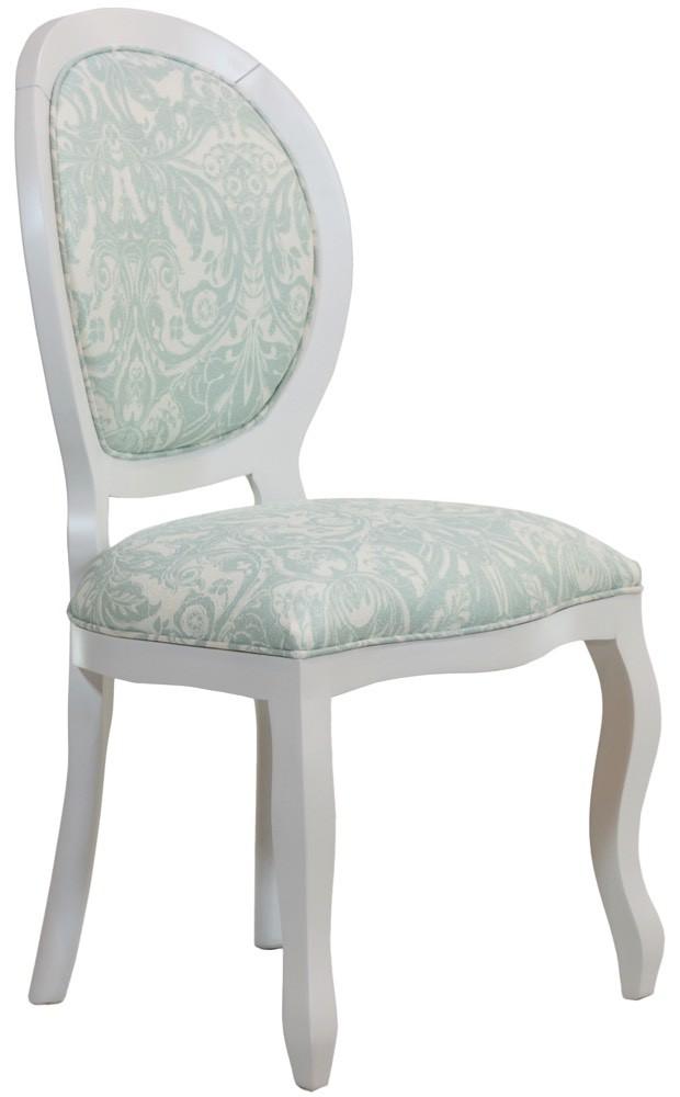 Cadeira Medalhão III Lisa - Branca com Floral Verde Claro