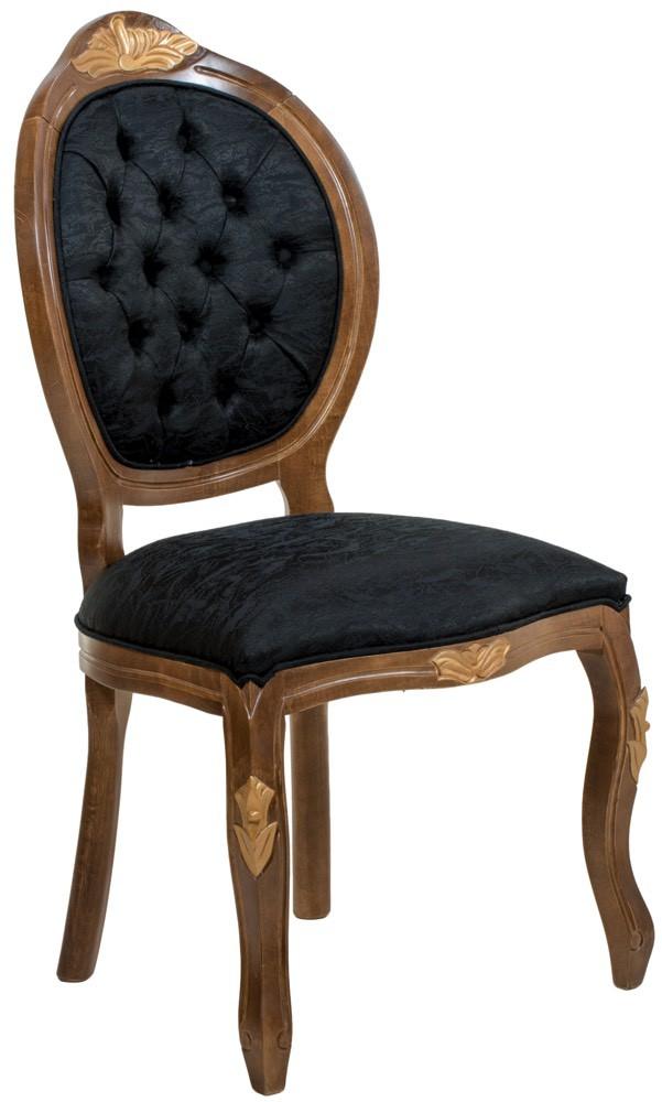 Cadeira Medalhão IV Entalhada - Capuccino com Dourado e Texturizado Preto