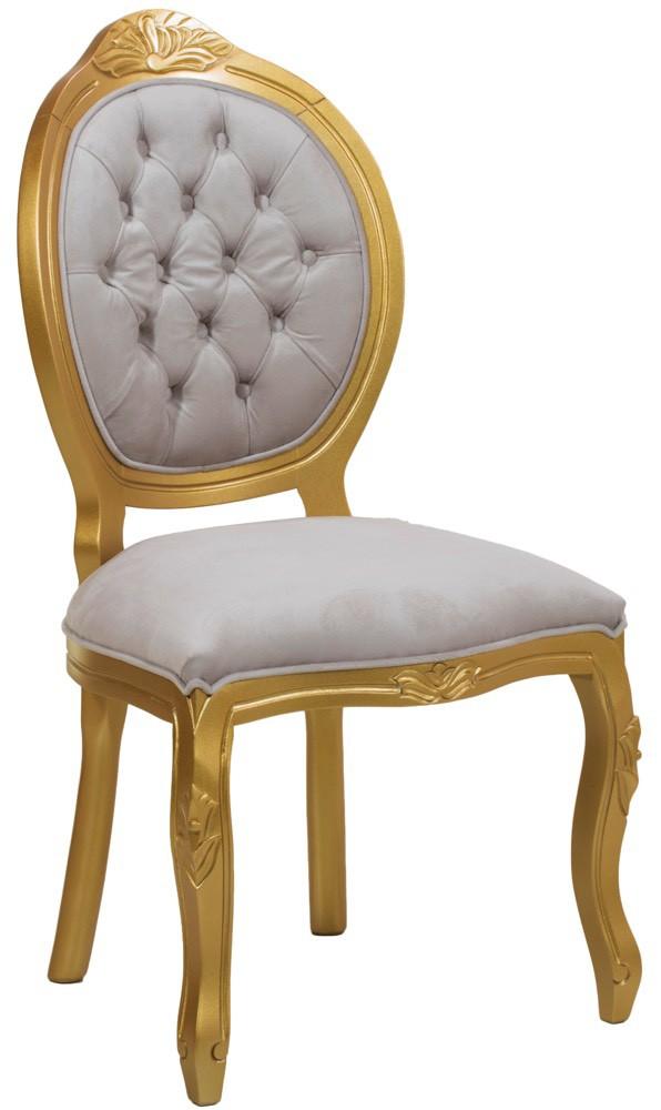 Cadeira Medalhão IV Entalhada sem Braço - Dourada e Creme