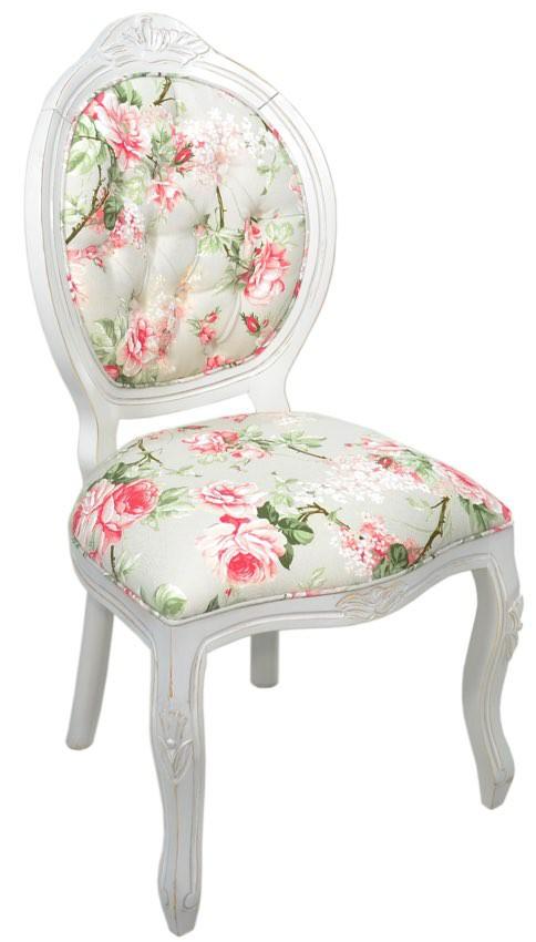 Cadeira Medalhão IV Entalhada - Provençal Branco com Floral Rosa