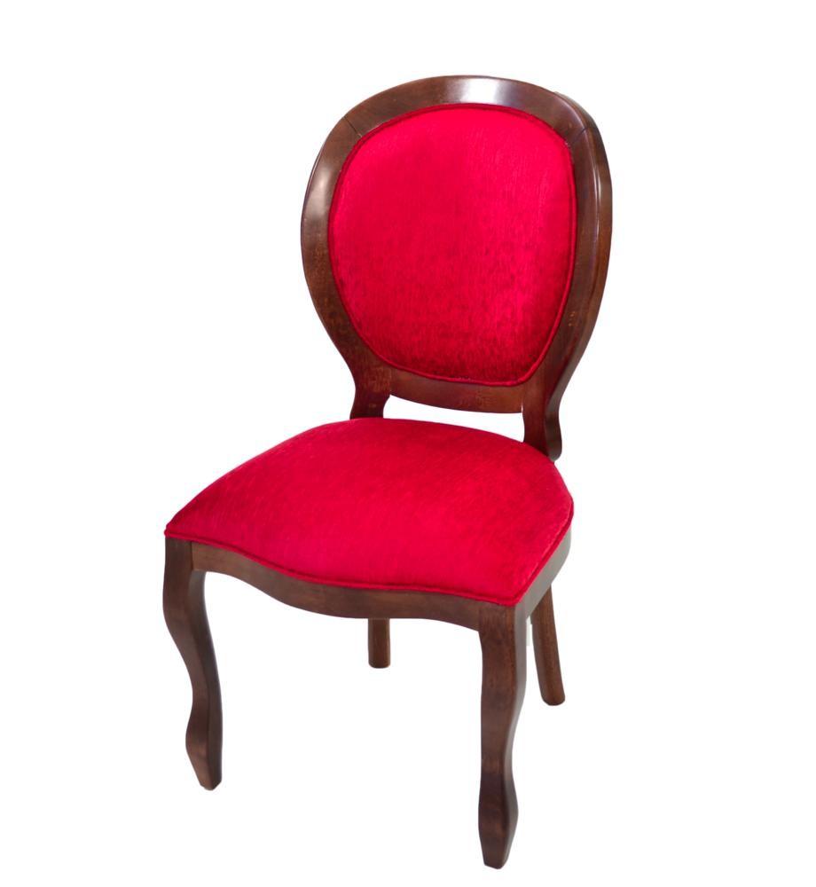 Cadeira Medalhão III Lisa - Cappucino e Vermelho