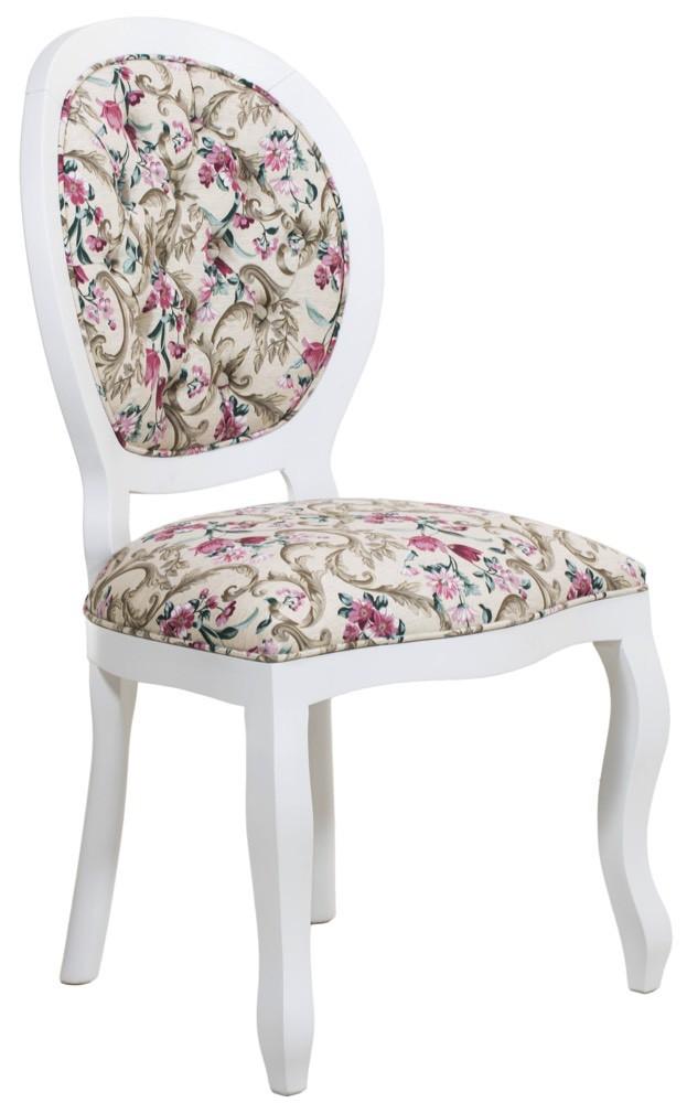Cadeira Medalhão III Lisa - Branca com Floral Ramo Verde com Lilás