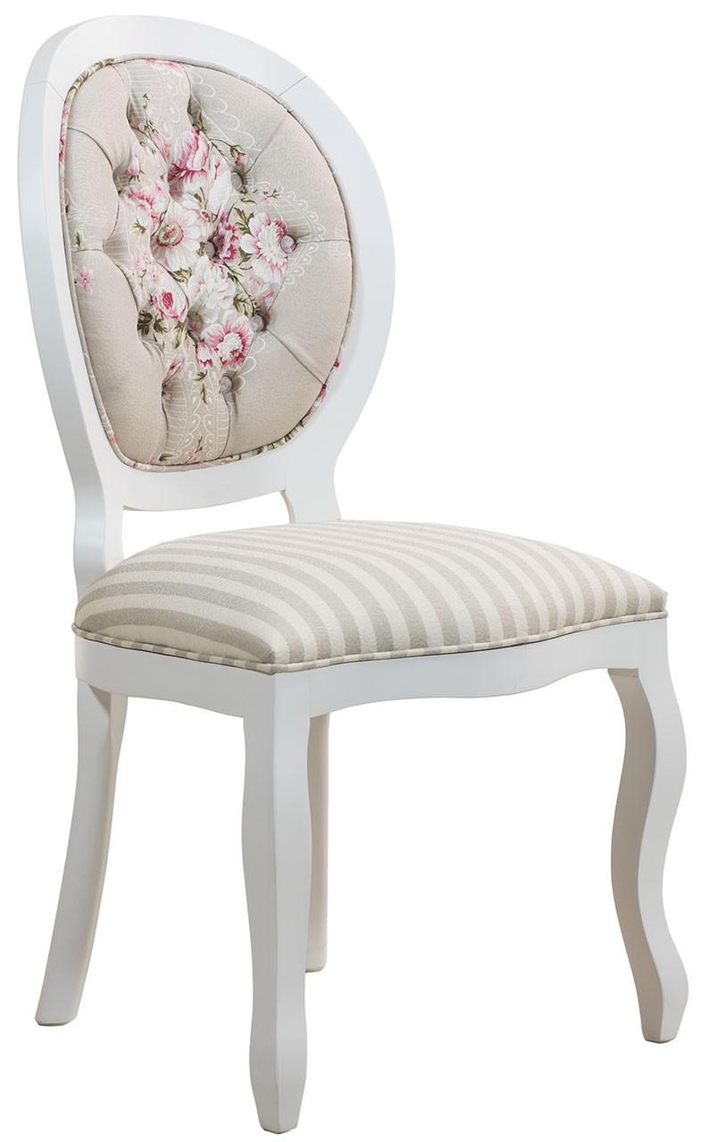Cadeira Medalhão III Lisa com Capitonê Branca com Floral Rosa Centralizado
