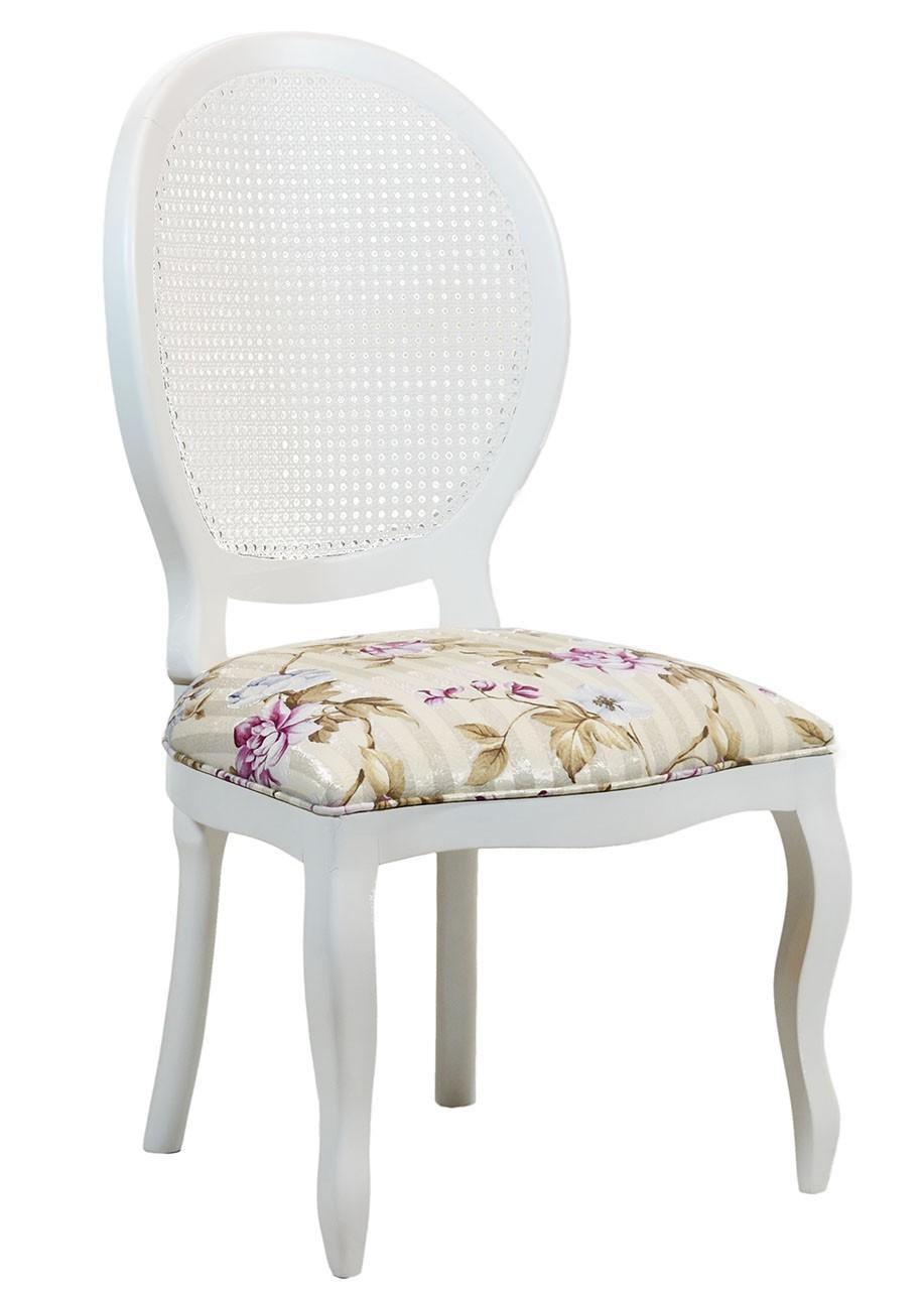 Cadeira Medalhão III Lisa com Encosto em Tela - Branca com Floral Listrado Violeta