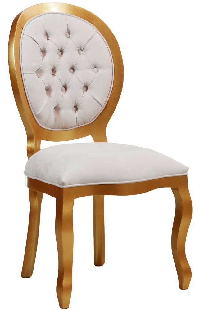 Cadeira Medalhão III Lisa com Capitonê - Dourada + Cores