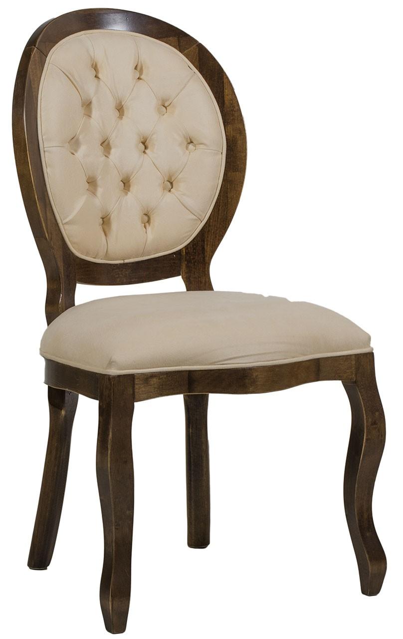 Cadeira Medalhão III Lisa com Capitonê - Capuccino e Creme + Cores